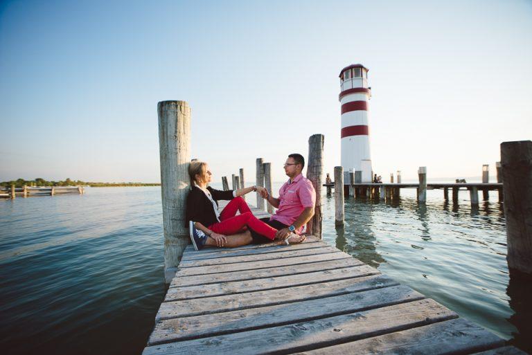 svadba svadobny fotograf  vieden podensdorf maják majak jazero molo